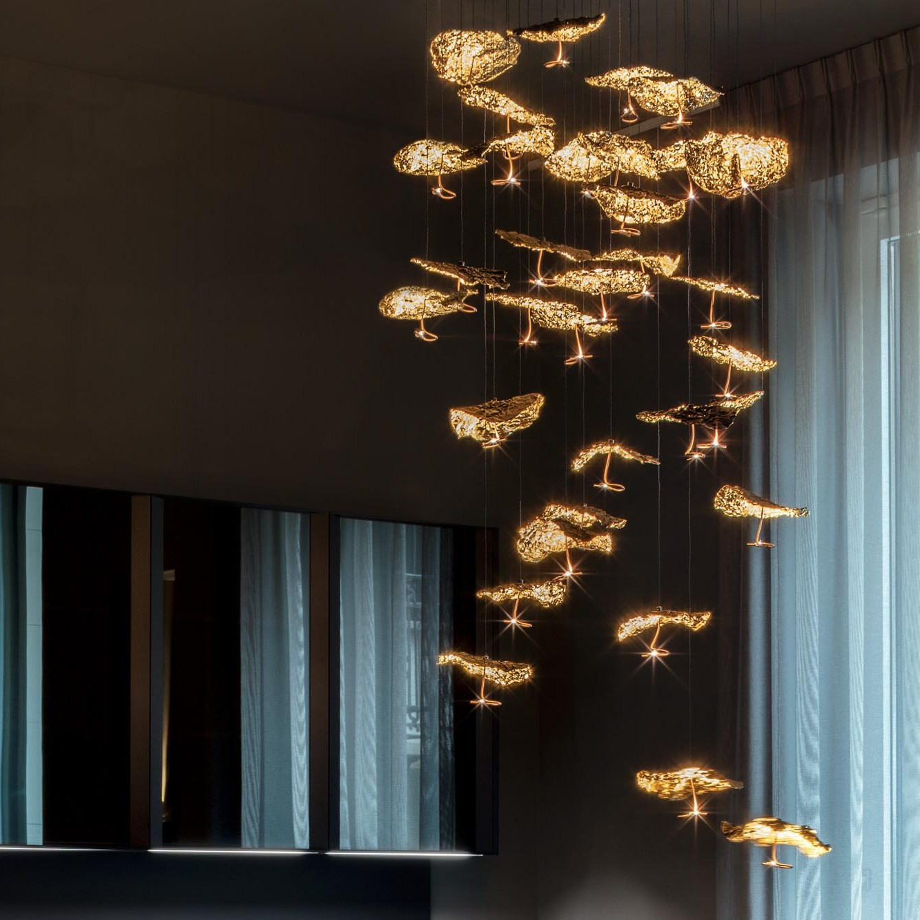 Catellani Amp Smith Gold Moon Chandelier Suspension Lamp