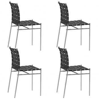 Alias - Tagliatelle Gartenstuhl 4er Set - schwarz/Gestell stahl