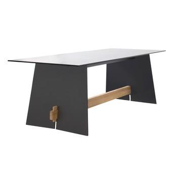 Conmoto - Tension Outdoor Tisch - anthrazit/Kante schwarz/teak/H73 x B220 x T90 cm