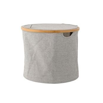 Bloomingville - Bloomingville Textile Wäschekorb - grau/natur/H 33cm/Ø 38cm