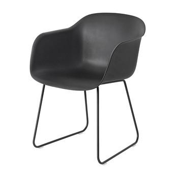 Muuto - Fiber Chair Armlehnstuhl mit Kufengestell - schwarz/Gestell schwarz/54.5x76.5x55cm