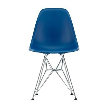 Vitra - Eames Plastic Side Chair DSR Stuhl H43cm - marineblau/Eiffelturmgestell Chrom/neue Höhe