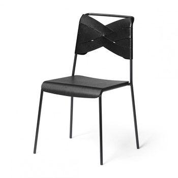 DesignHouseStockholm - Torso Stuhl - schwarz/Esche schwarz/Gestell schwarz pulverbeschichtet/52x83x47cm