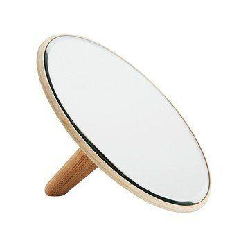 Woud - Barb Kosmetikspiegel  - eiche/spiegel/lackiert/Ø x H: 26 x 6cm/Größe 2