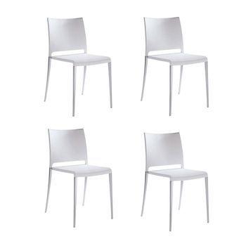 - Mya Stuhl 4er Set - weiß/Gestell aluminium/satiniert