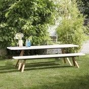 Jan Kurtz - Nanoo Gartenset mit Bank - weiß/Gestell Robinie/Bank 240x40cm/Tisch 240x80cm