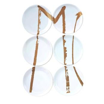 Driade - TWS Moi 6 Teller  - weiß/gold/Version A/linke Seite
