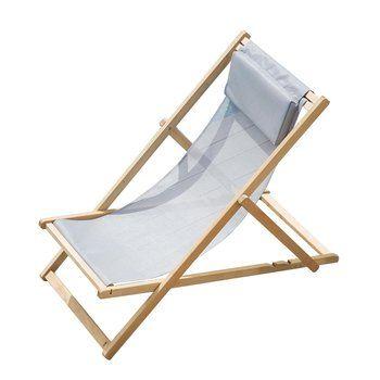 Jan Kurtz - Fiam Relax Deckchair Liegestuhl - grau/Kunststoffgewebe/BxHxT 60x92x103cm/Gestell Robinie