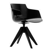 MDF Italia - Chaise avec accoudoirs Flow Slim quatre pieds VN acier