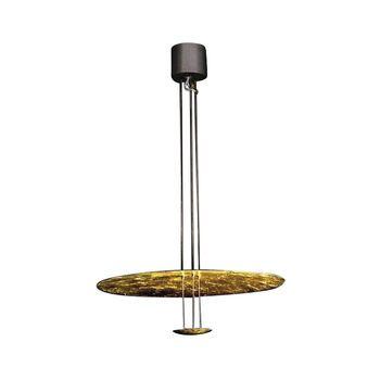 Catellani & Smith - Macchina Della Luce B Pendelleuchte - gold/Aluminium/Kabel 145 cm, Zuschneidbar/Scheiben Ø80cm/ Ø17cm