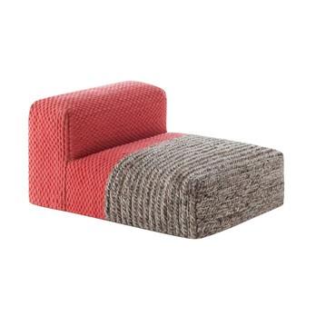 GAN - Mangas Space Modules Pouf - korallrot/grau geflochten/100% Wolle/Füllung: Polystyrol & Schaumstoff/LxBxH 120x90x60cm