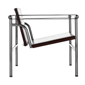 Cassina - Le Corbusier LC1 kleiner Sessel - Kernleder schwarz/Gestell verchromt