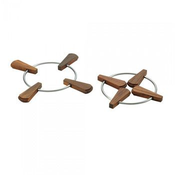 - Folding Trivet Faltbare Topfuntersetzer 2tlg. - teak/H 1,5cm, Ø 20/28cm/2 Stück