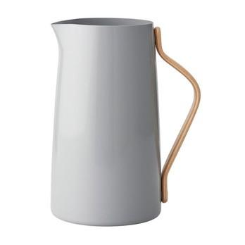 Stelton - Emma Kanne 2.0L - grau/buche/glänzend/mit Kunststoff Deckel/LxBxH 20x13x23cm