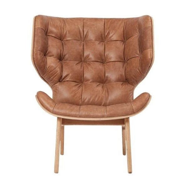 NORR 11   Mammoth Fluffy Lounge Chair Leather   Camel Brown/vintage Leather