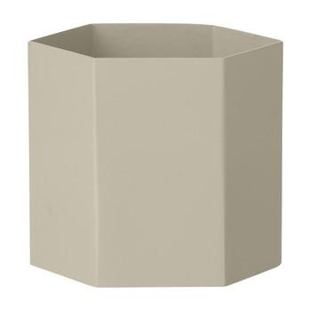 ferm LIVING - Hexagon Pot Large Aufbewahrungsbehälter - grau/pulverbeschichtet/Ø13.5cm/H12cm