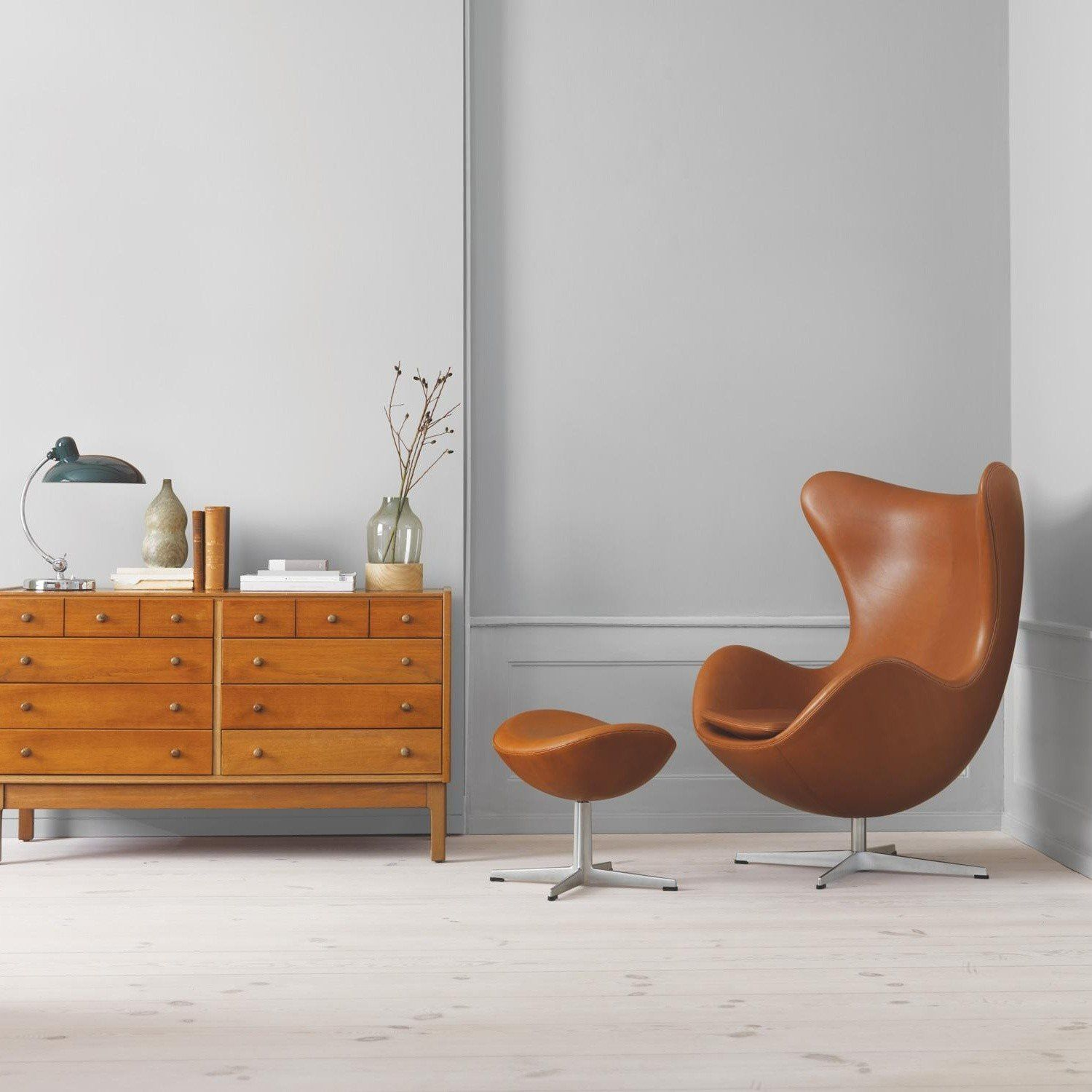Fritz Hansen   Aktion Egg Chair/Das Ei Sessel + Hocker Leder ...