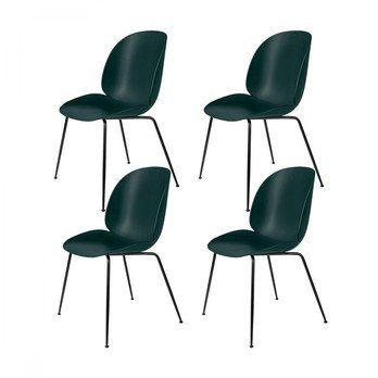 Gubi - Beetle Dining Chair Stuhl 4er Set - grün/Sitz Polypropylen-Kunststoff/BxHxT 56x87x58cm/Gestell schwarz