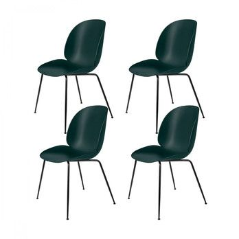 Gubi - Beetle Dining Chair Stuhl 4er Set - grün/BxHxT 56x87x58cm/Gestell schwarz