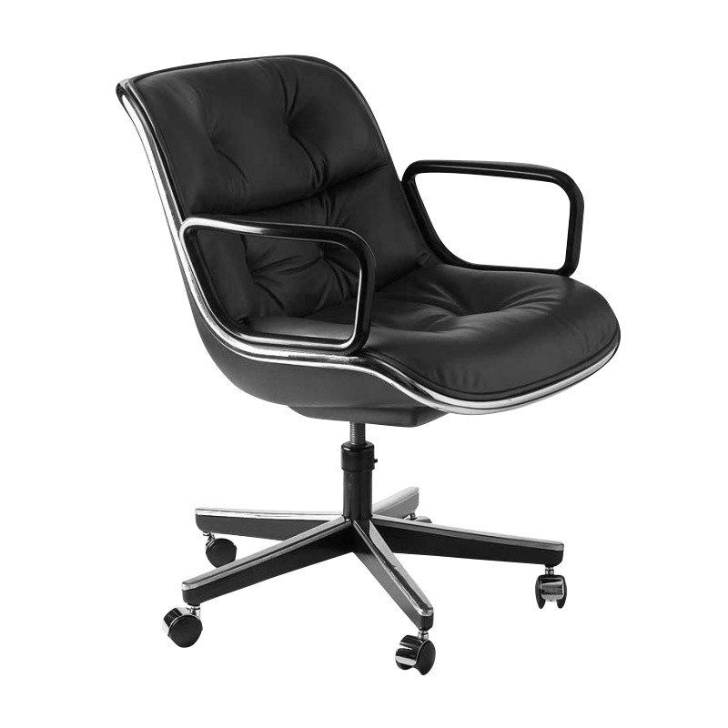Knoll International   Pollock Swivel Chair With Wheels   Leather Volo Black