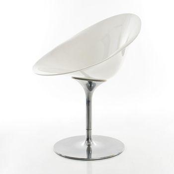Kartell - Ero/S/ Drehstuhl - weiß/glänzend/ undurchsichtig/Drehfuß aus glänzendem Aluminium
