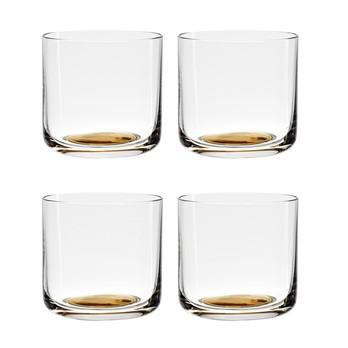 HAY - Colour Glass Low Gläser Set  - goldener Punkt/transparent/4 Stück/H x Ø 6,9 x 7,3cm