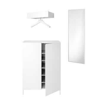 Schönbuch - Urban Allrounder Garderobe - schneeweiß/lackiert/1x kleine Wandgarderobe/1x großer Wandspiegel/1x Kommode - Schuhschrank 80x116x39.1cm
