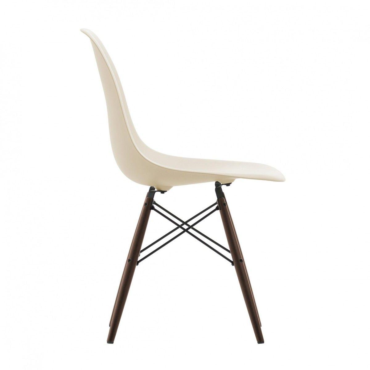 Eames plastic chair vitra - Vitra Eames Plastic Side Chair Dsw Ahorn Dunkel H41cm Creme Polypropylen Gestell