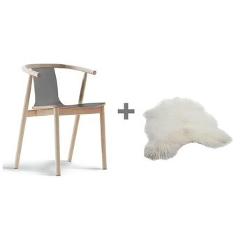 Cappellini - Aktionsset Bac Armlehnstuhl + Fell - esche gebleicht/Sitz grau/Island Lammfell