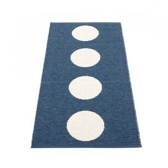 pappelina - Vera Teppich 70x150cm - ozeanblau/vanille/wendbar/gewebt/Kante geschweißt/für Innen- und Außenbereich geeignet