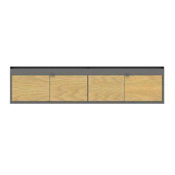 HAY - New Order Lowboard 200x44.5cm - charcoal/eiche/lackiert/mit 2 Holztüren