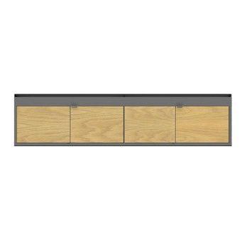 HAY - New Order Lowboard 200x44.5cm - dunkelgrau charcoal/Eiche/mit 2 Holztüren