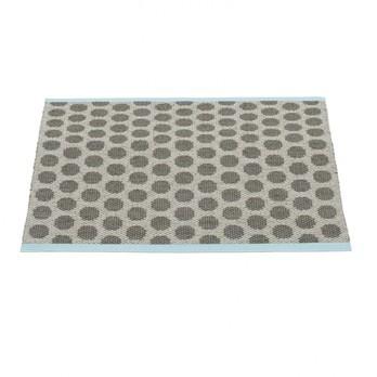 pappelina - Noa Teppich 70x50cm - grau/kohlschwarz/türkiser Streifen/wendbar