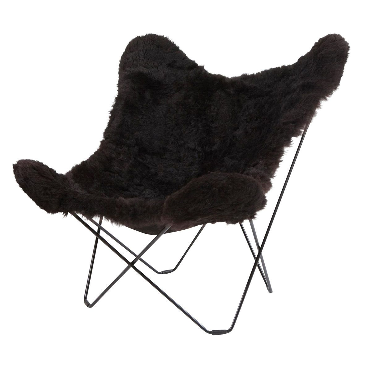 Butterfly chair black - Cuero Iceland Mariposa Butterfly Chair Black Icelandic Lambskin Frame Black