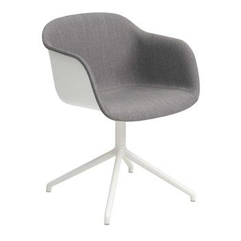 Muuto - Fiber Armlehndrehstuhl teilgepolstert - weiß/grau/Sitzfläche Remix 133/BxHxT 54,5x76,5x55cm/Gestell Edelstahl pulverbeschichtet weiß