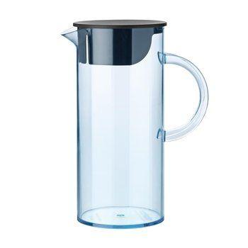 Stelton - EM Wasserkanne mit Deckel - blau/transparent/1.5L/BxH 18x22cm/Ø11cm