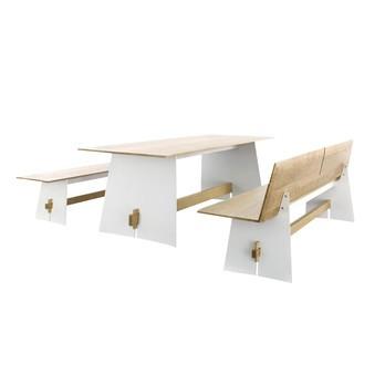 Conmoto - Tension Wood Set - weiß/eiche/Tisch H 73 x B220 x T90cm/Bank H 42 x B220 x T45cm/Bank mit Rückenlehne H 76 x B220 x T57cm