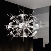 deMajo - Zabriskie Point S Suspension Lamp - transparent/mounting chrome/with control gear