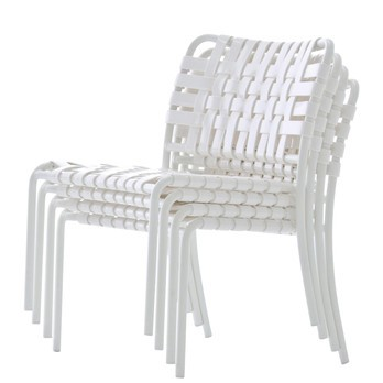 Gervasoni - InOut 825 Loungestuhl - weiß/Sitzfläche geflochten/matt