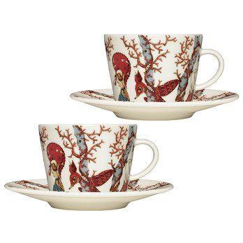 iittala - Tanssi Kaffeetassen Set 2tlg. - Mehrfarbig/2 x Tasse 0,2l/2x Teller Ø 15cm