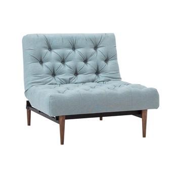 Innovation - Oldschool Styletto Sessel - hellgrau blau/Stoff 552 Soft Pacific Pearl/Gestell schwarz/Beine Holz dunkel/Liegefläche 115 x 90cm