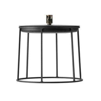 Menu - Wire Disc Table Beistelltisch 27cm - schwarz/pulverbeschichtet/H 27cm, Ø 23cm/mit Öllampe