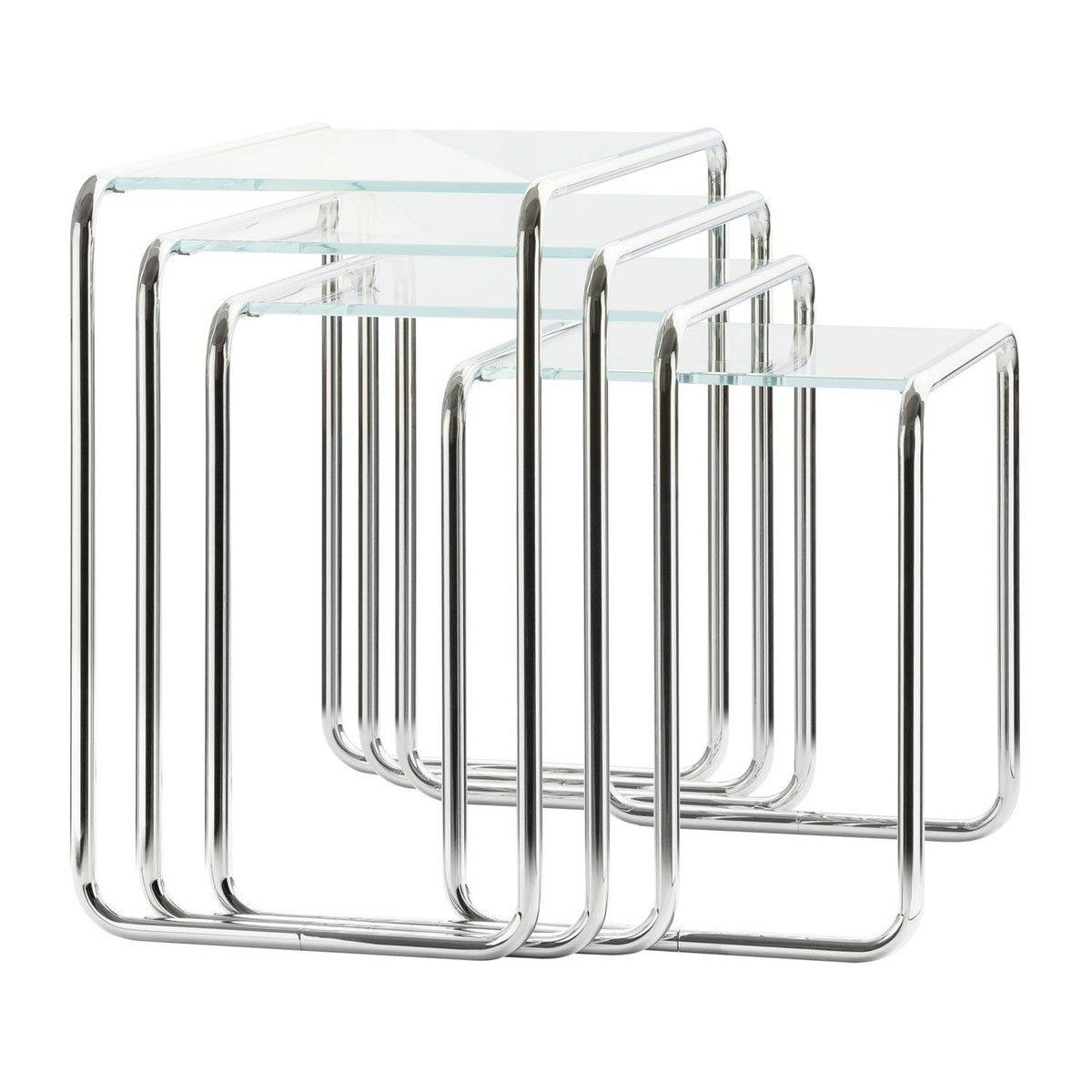 Thonet   Thonet B9 Side Table Set Glass   White / Frame Chrome/glass  Optiwhite