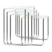 Thonet - Thonet B9 Set Beistelltische Glas - weiß/ Gestell chrom/Glas optiwhite Diamantschliff/4 Tische B 9a, b, c, d