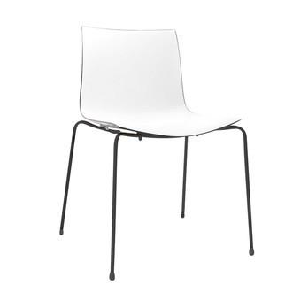 Arper - Catifa 46 0251 Stuhl zweifarbig Gestell schwarz - weiß/schwarz/Außenschale glänzend/innen matt/Gestell schwarz matt V39