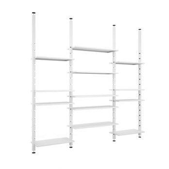 Zeus - Kasper Bücherregal 262x300cm - weiß/zerlegbar/modular/zur Deckenmontage/3 Module/H max. 300cm