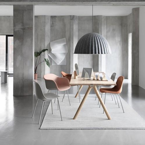 Muuto - Fiber Chair Stuhl gepolstert mit Rohrgestell