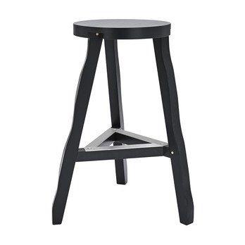 Tom Dixon - Offcut Barhocker 65cm - schwarz/lackierte Birke/Fußablage aluminium/Ø 46cm