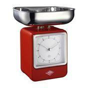 Wesco - Wesco Retro Waage mit Uhr - rot/15x27x13cm
