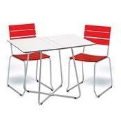 Weishäupl - Balcony Gartenset  - rot/Gestell edelstahl/Tisch weiß/2 Stühle 1 Klapptisch